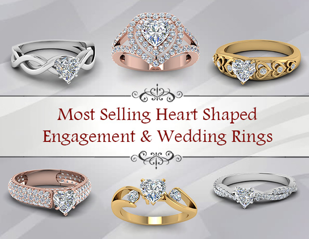 Heart Shaped Engagement And Wedding Rings