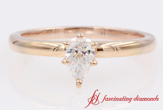 Pear Shaped Solitaire Diamond Ring