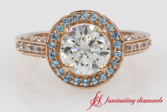 Round Cut Diamond & Topaz Halo Ring