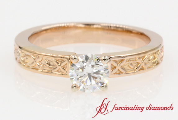 Floral Round Cut Solitaire Diamond Ring