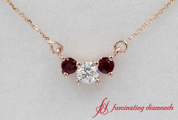 Ruby With Diamond 3 Stone Pendant