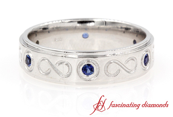 Sapphire Band With Infinity Design In White Gold