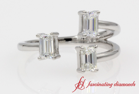 3 Stone Emerald Cut Open Ring