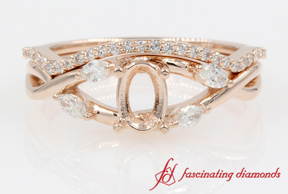 Twisted Marquise Diamond Bridal Set Mounting in Rose Gold