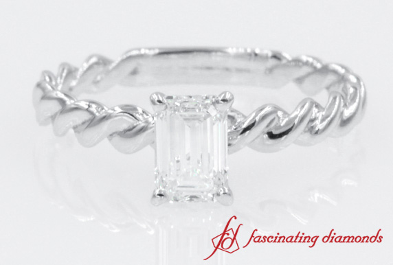 Twisted Rope Emerald Cut Diamond Solitaire Ring In White Gold