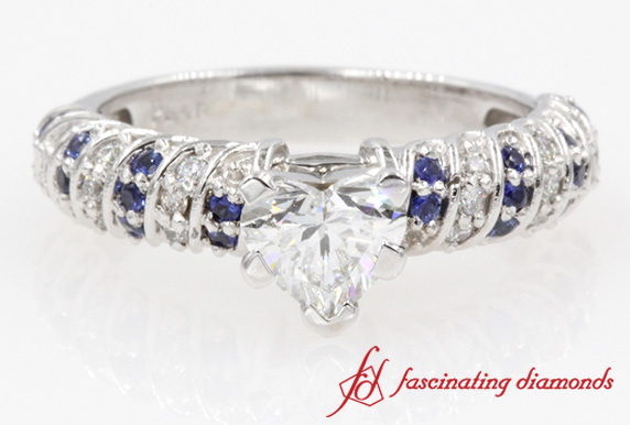Twisted Rope Heart Diamond With Sapphire Engagement Ring in White Gold