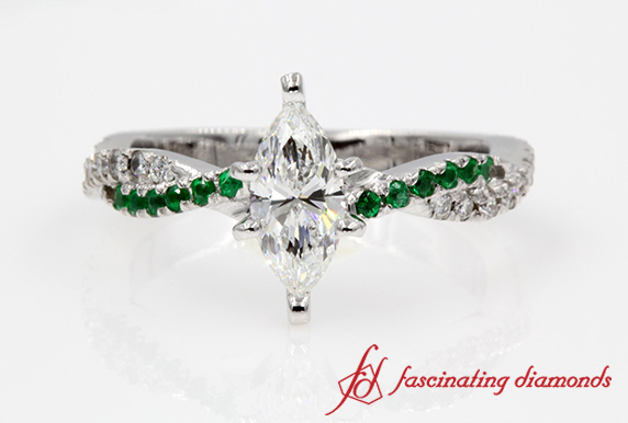 Twisted Vine Marquise Diamond Ring With Emerald