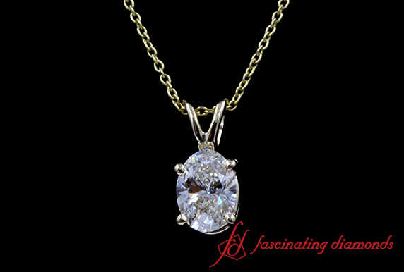 0.50 Carat Oval Diamond Solitaire Pendant In White Gold-FDPD4OV