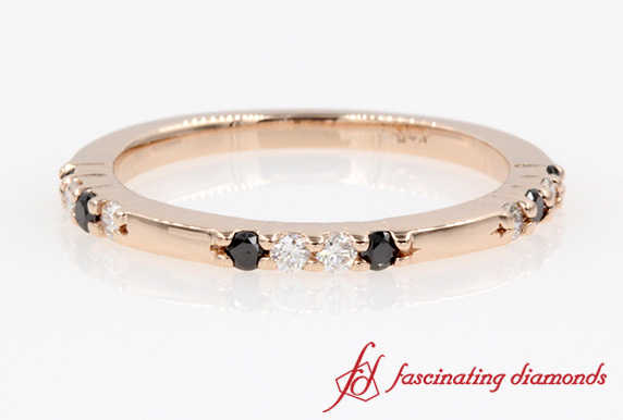 Black And White Diamond Stackable Wedding Ring In Rose Gold