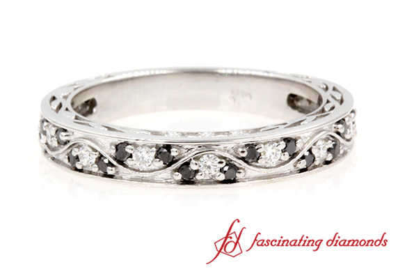 Black & White Diamond Vintage Wedding Ring In White Gold