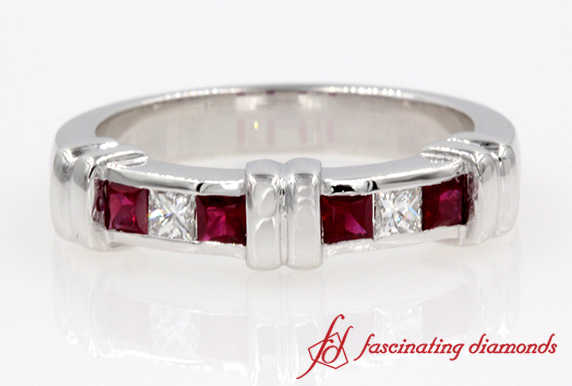 Princess Cut Diamond & Ruby Band