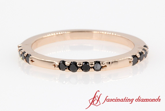 Customized Black Diamond Stackable Ring In 14k Rose Gold
