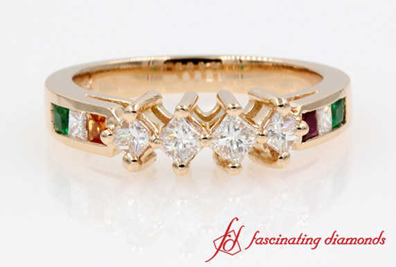 Kite Set Princess Cut Diamond Ring