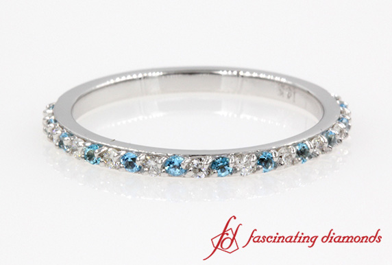 Delicate Round Diamond With Topaz Wedding Ring In White Gold