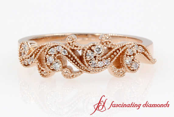 Filigree Milgrain Diamond Band