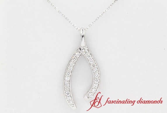 Wishbone pendant In White Gold