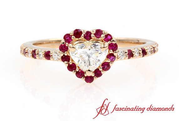 Halo Heart Diamond Engagement Ring With Ruby In Rose Gold