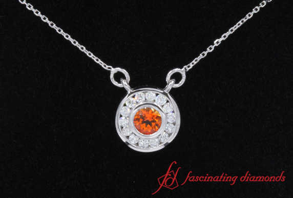 Orange Topaz Halo Diamond Pendant