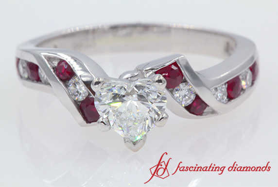 Twisted Heart Diamond With Ruby Engagement Ring In White Gold