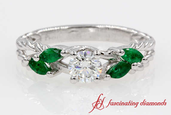 Split Round Diamond With Emerald Ring