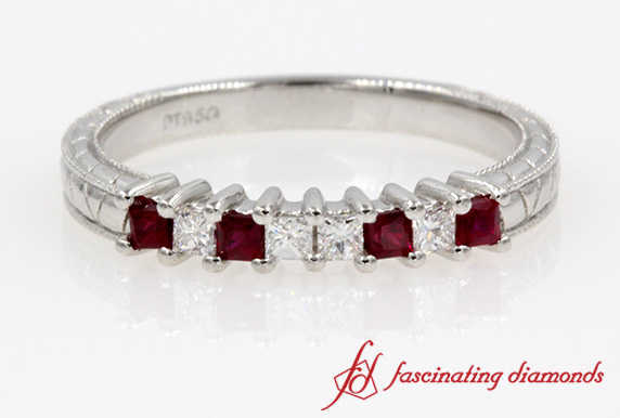 Vintage Square Diamond With Ruby Band