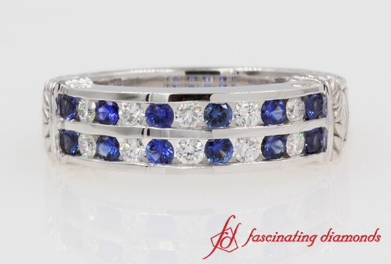 2 Row Diamond & Sapphire Antique Band In White Gold