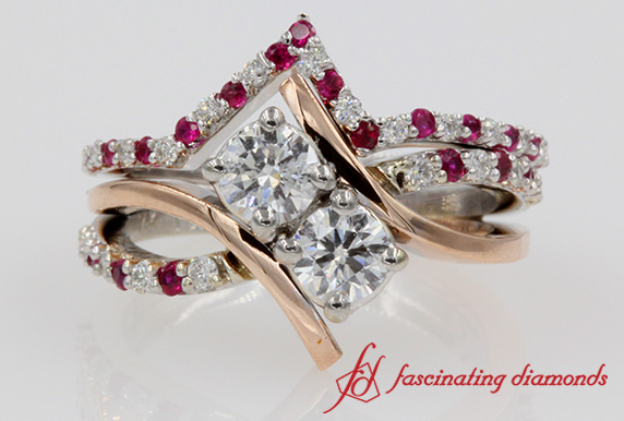 2 Stone Pink Sapphire Ring Set
