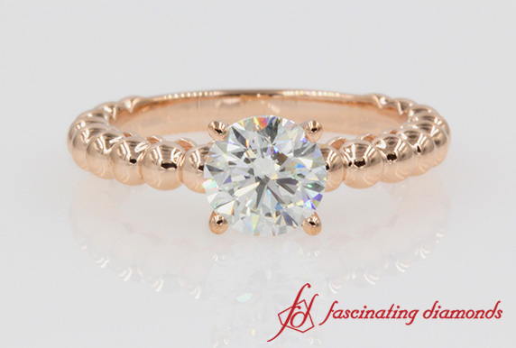 Beaded Rose Gold Round Diamond Ring