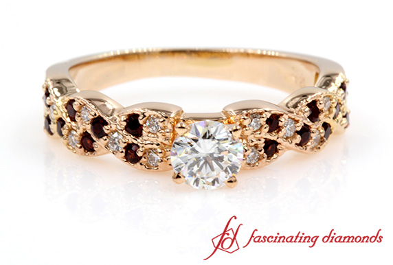 Ruby And White Diamond Round Vintage Ring In Rose Gold