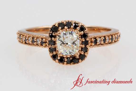 Black & White Diamond Halo Ring