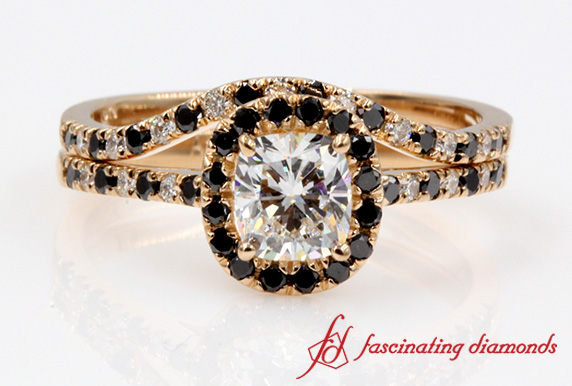 Cushion Black Diamond Halo Ring Set