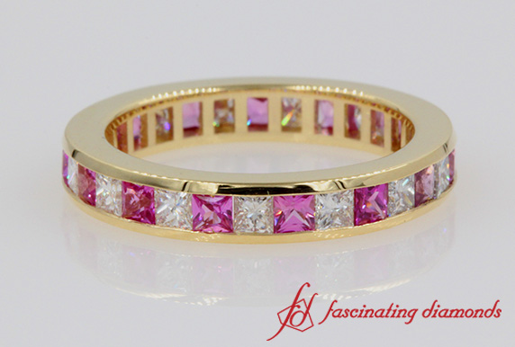 Eternity Princess Cut Diamond & Pink Sapphire Band In Yellow Gold