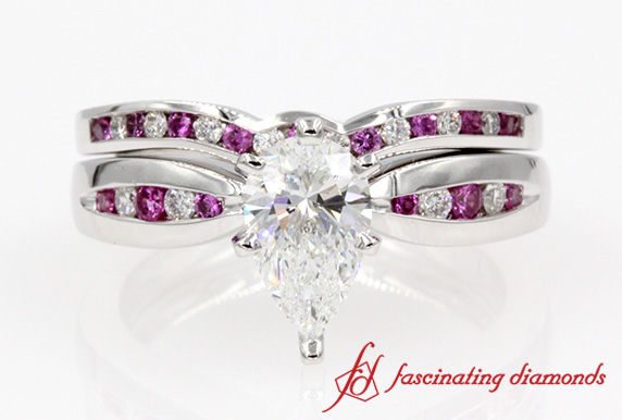 Channel Pear Diamond Bridal Set