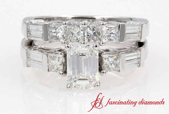 extraordinary emerald cut diamond wedding ring set - Emerald Cut Wedding Ring