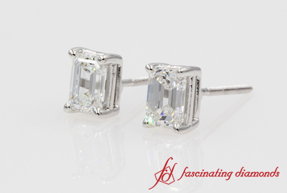 1 Ct. Emerald Cut Diamond Stud Earring