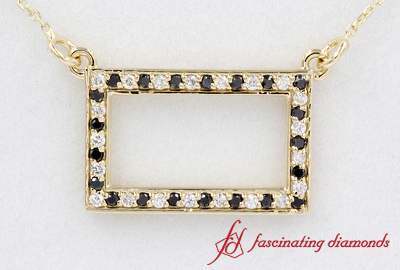 Open Rectangle Pendant Yellow Gold