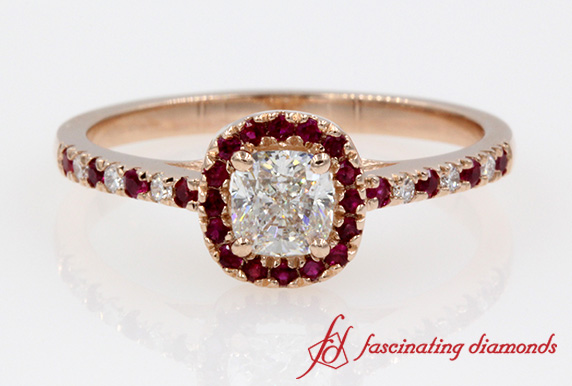 French Pave Cushion Diamond With Ruby Halo Ring In Rose Gold