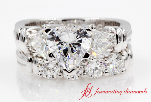 Customized Heart Cut Wedding Ring Sets with Trillion Diamond In White Gold