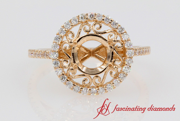 Micropave Filigree Halo Ring Setting