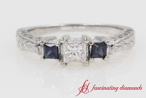 Princess Cut 3 Stone With Sapphire Ring