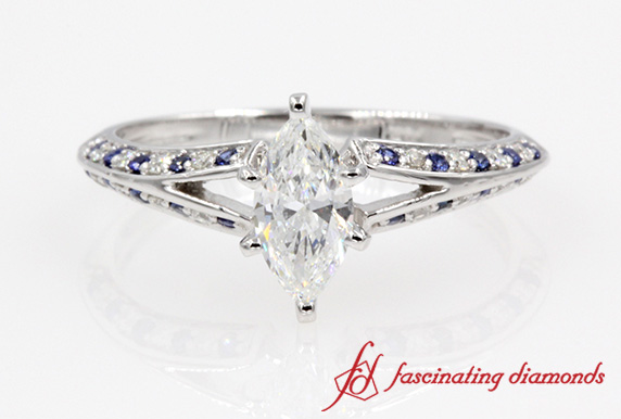 Split Marquise Diamond Ring With Sapphire