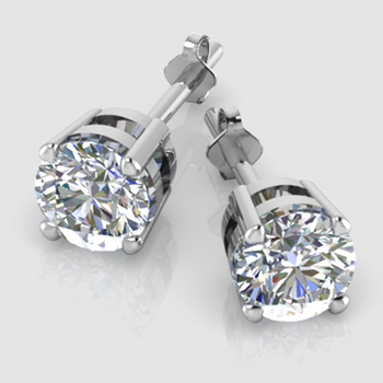 own in your p gold earrings set white palladium settings stud diamond jewelry design half bezel angle