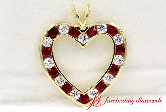 Ruby Open Heart Design Pendant