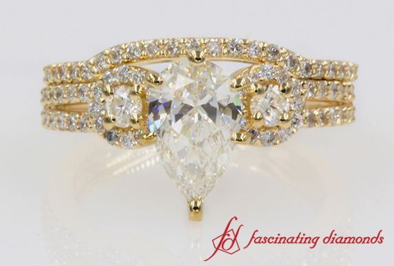 Antique Pear Diamond Wedding Set