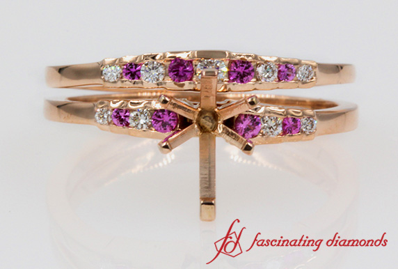Channel Set Pink Sapphire Wedding Set Mounting In Rose Gold