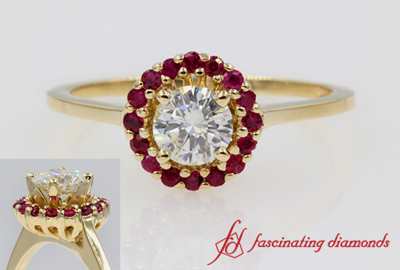 Round Diamond Halo Ruby Ring