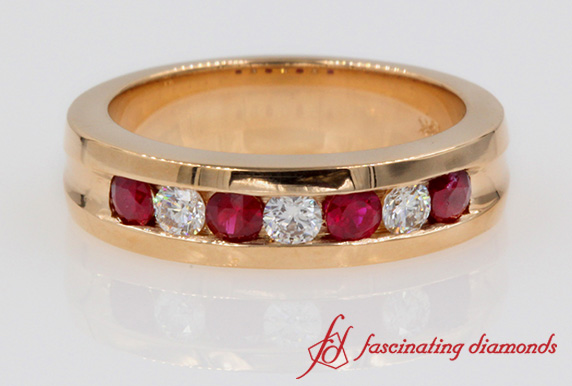 Rose Gold Ruby Wedding Band