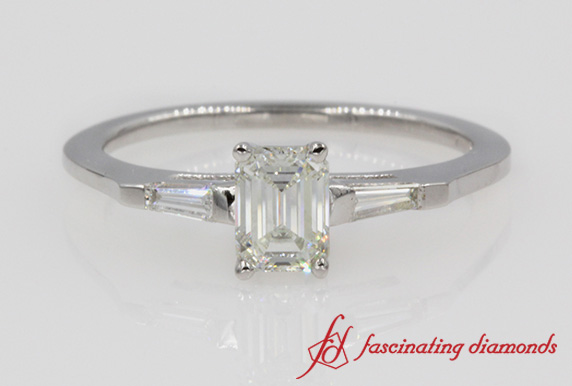 Emerald Cut & Baguette Diamond 3 Stone Ring
