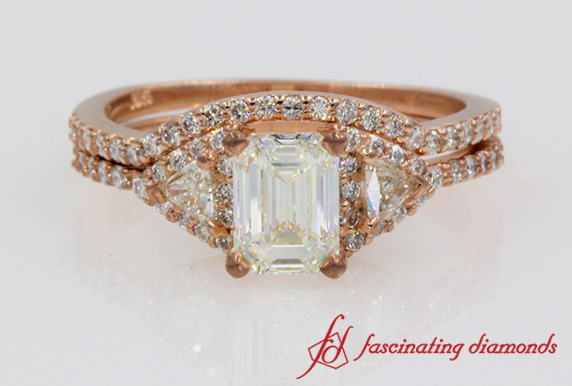 Emerald Cut Trillion Diamond Wedding Set In 18k Rose Gold