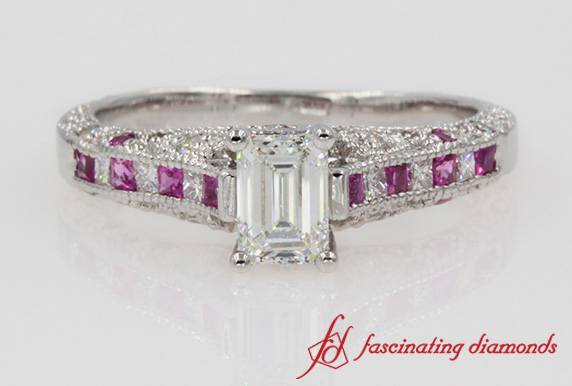 Emerald Cut Vintage Pink Sapphire Ring In White Gold